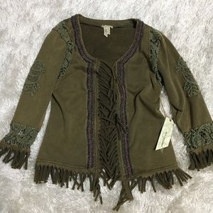 BKE Olive Green Bead Fringe Crochet Open Cardigan